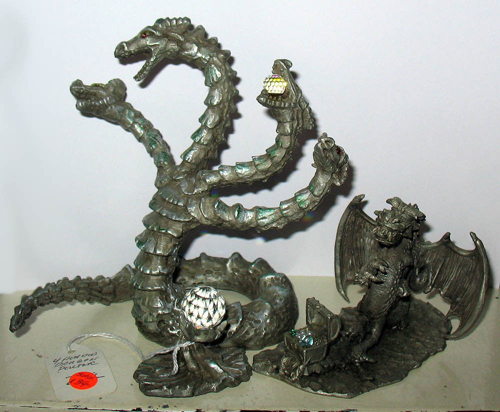 2 large pewter crystal dragon figurines hydra and sunglo denicolo 91 hydra ebay - Pewter dragon statues ...