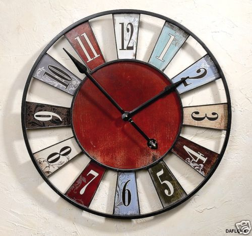 horloge murale ancienne rustique rouge bleu diam tre 75 cm ebay. Black Bedroom Furniture Sets. Home Design Ideas