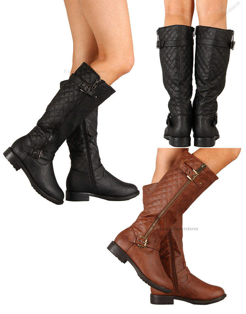 New Womens Riding Knee High Boots Flat Heel Hot Fashion Faux Leather Shoes Size Ebay