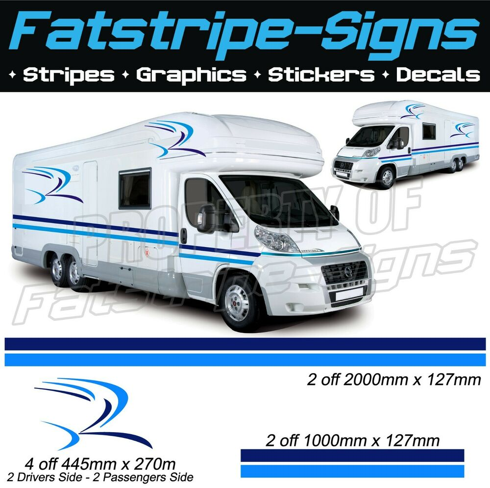 Brilliant 2M Motorhome Vinyl Graphics One For Each Side Stickers Decals Set