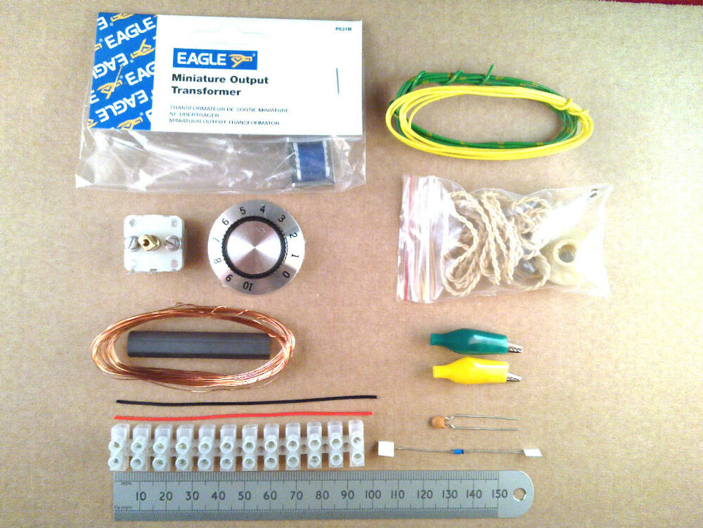 Crystal set radio kit of electronic parts diode wireless project ff