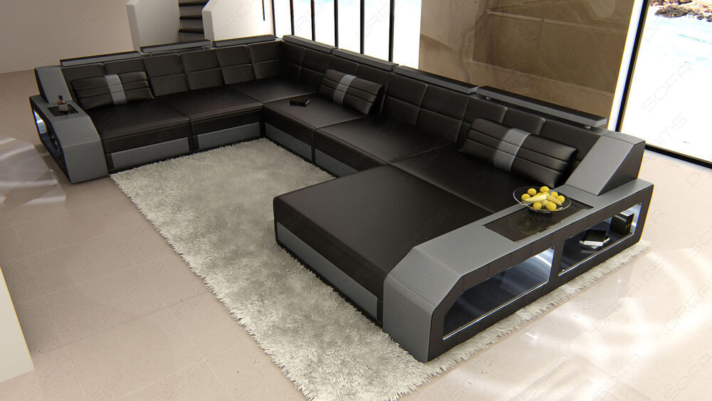wohnlandschaft matera xxl u form design couch led beleuchtung sofa schwarz grau ebay. Black Bedroom Furniture Sets. Home Design Ideas