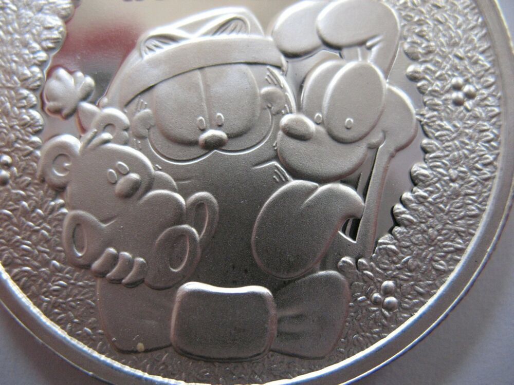 1 Oz 999 Silver Christmas Garfield Paws Engravable Coin