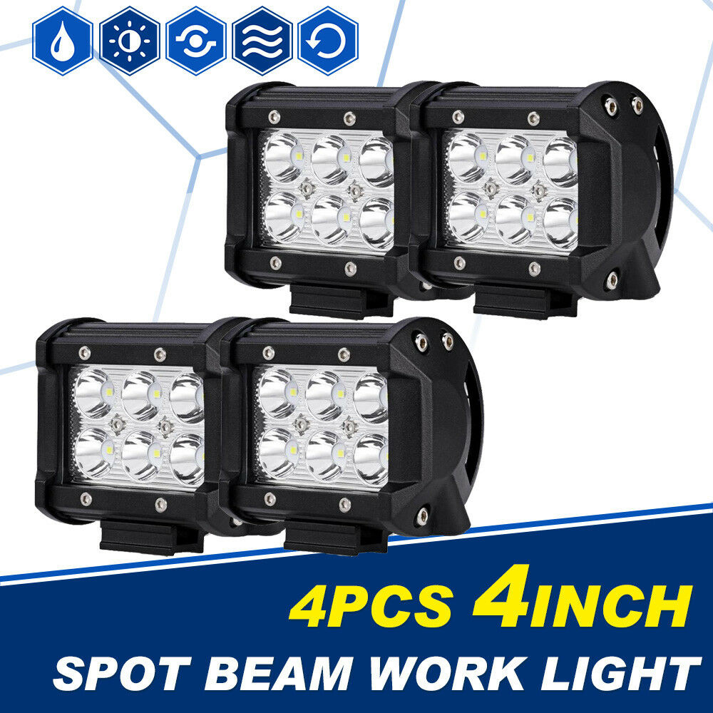 4x 18w 4 cree led work light bar spot beam offroad 4wd ute suv fog driving lamp ebay. Black Bedroom Furniture Sets. Home Design Ideas