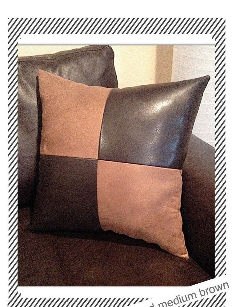 Home sofa black leather suede fabric accent Decorative case cushion Pillow cover eBay