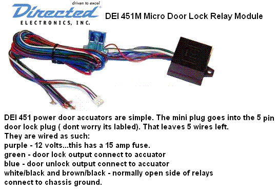 DEI 451M    DOOR       LOCK    RELAY PACK W RESISTOR Keyless    Car