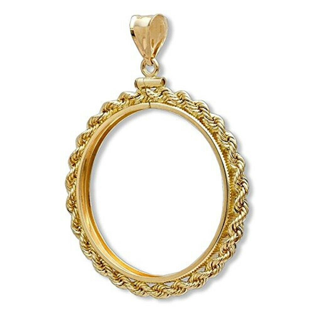 Solid 14k Gold Rope Coin Bezel 1 10 Oz Gold American Eagle Coin Not Included Ebay