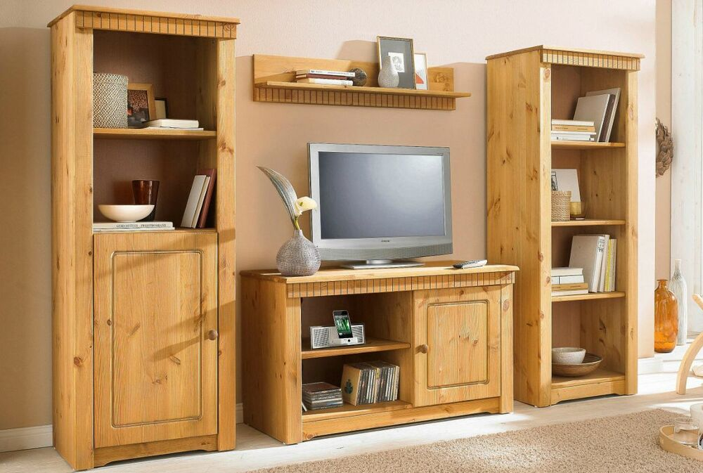 wohnwand 4tlg landhausstil tv regal schrank aus kiefernholz gelaugt ge lt neu ebay. Black Bedroom Furniture Sets. Home Design Ideas