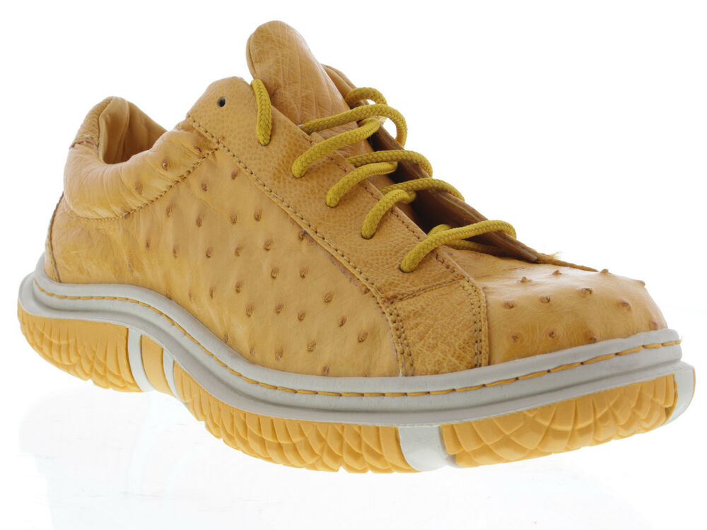 s genuine yellow ostrich dress tennis shoes sneakers