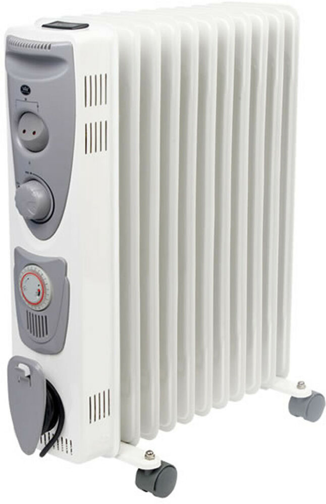 Oil Filled Portable Electric Radiator Heater Garage Low