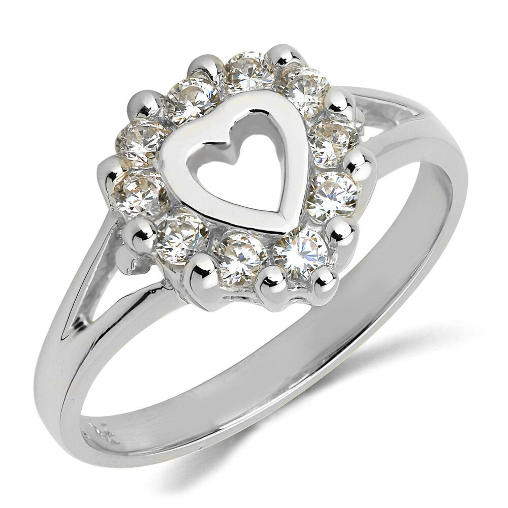 14k solid white gold cz cubic zirconia ring band ebay