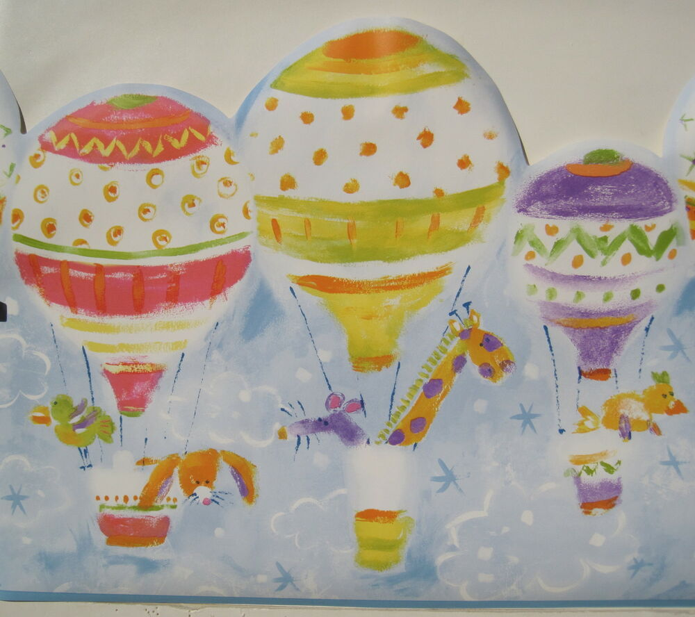 cartoon animals in hot air balloons wallpaper border 13