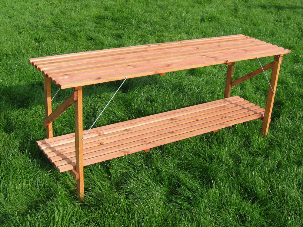 Folding wooden greenhouse staging potting bench 6 39 x 21 - Wooden staging for greenhouse ...