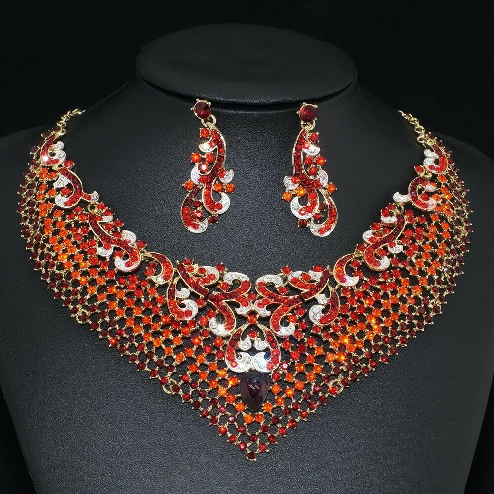 Wedding Gift Necklace : ... Red Rhinestone Crystal Earrings Necklace Set Bridal Party Gift eBay
