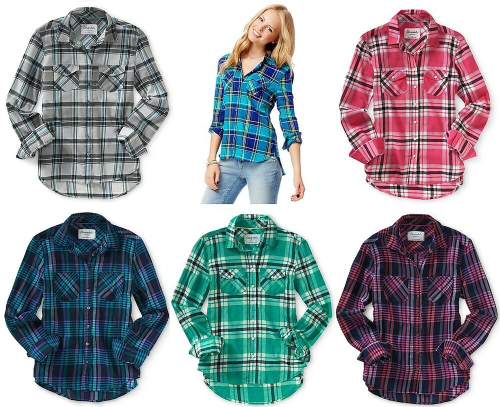 Aeropostale womens long sleeve plaid woven button down for Plaid button down shirts for women