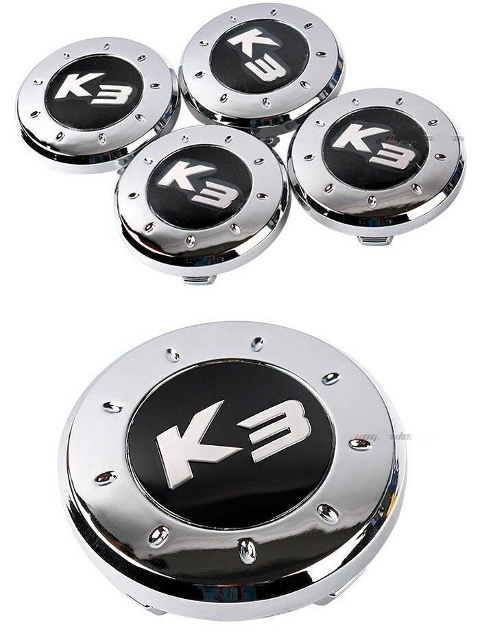 k3 logo chrome plating wheel center caps 4p fit kia. Black Bedroom Furniture Sets. Home Design Ideas