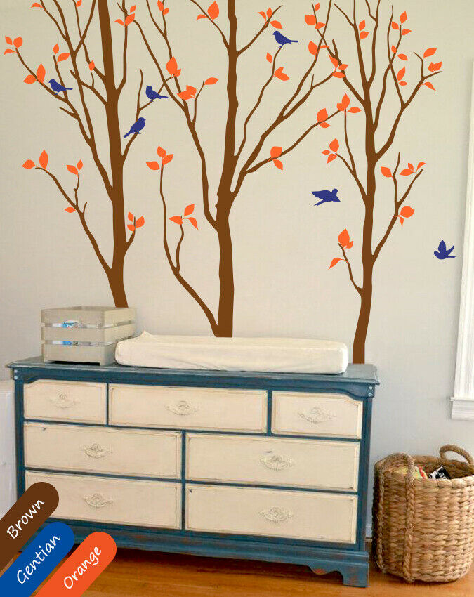 Birch trees wall decal with birds and leaves nursery wall for Birch trees mural