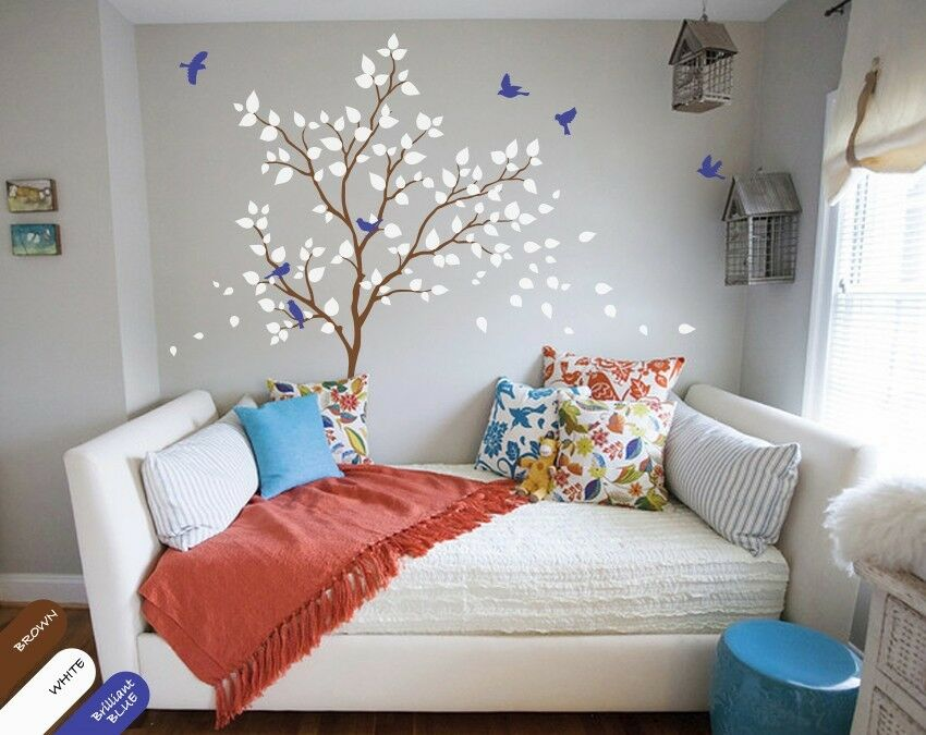 forest tree wall decal with birds green and pink leaves nursery decoration kr017 ebay. Black Bedroom Furniture Sets. Home Design Ideas