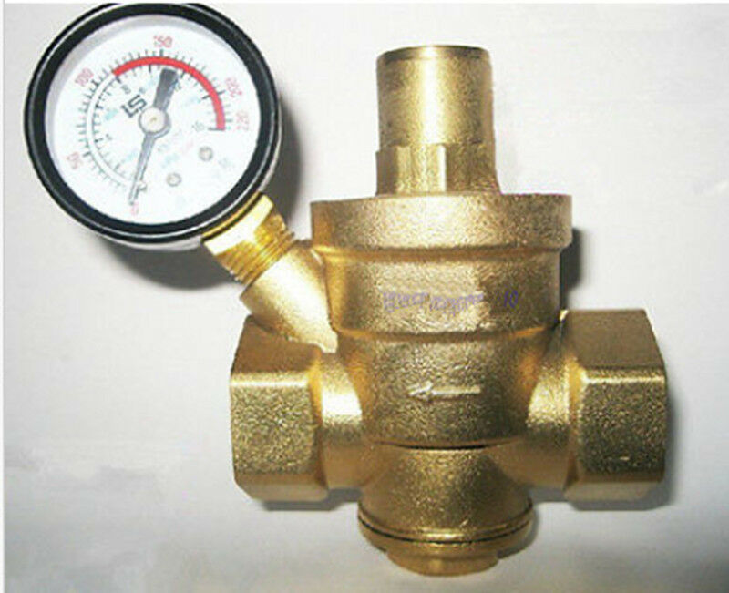 new 1 39 39 brass water pressure reducing valve 1 39 39 bspp with pressure gauge ebay. Black Bedroom Furniture Sets. Home Design Ideas