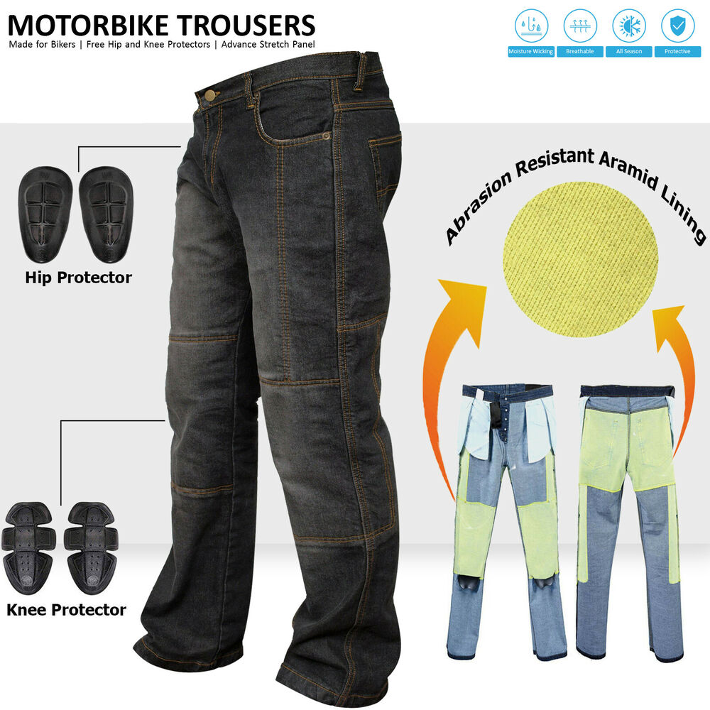 Men's Motorbike Motorcycle Biker Trousers Pants Jeans With ...