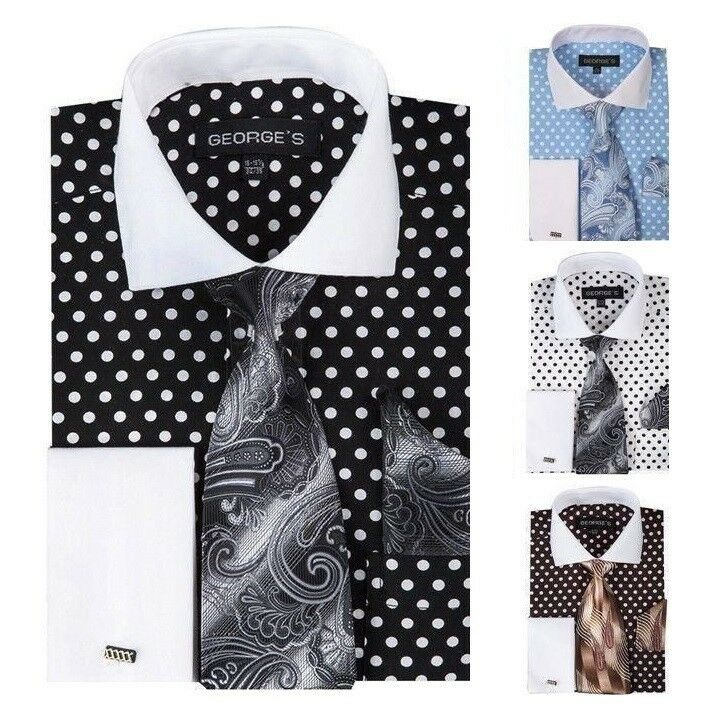 Men 39 S Cotton Polka Dot French Cuff Dress Shirt Set 613