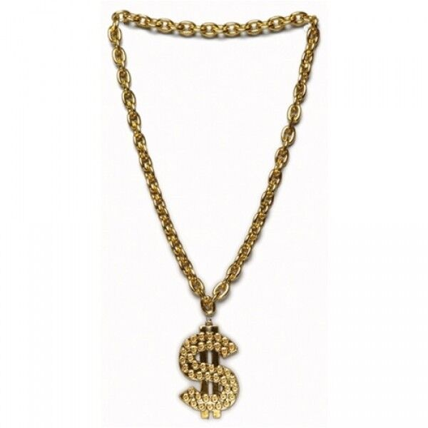 Gangster Chain Dollar Sign Necklace Gold Rapper BLING ...