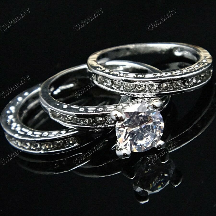new 12pcs cz white gold wedding brand 3 in 1 womens rings