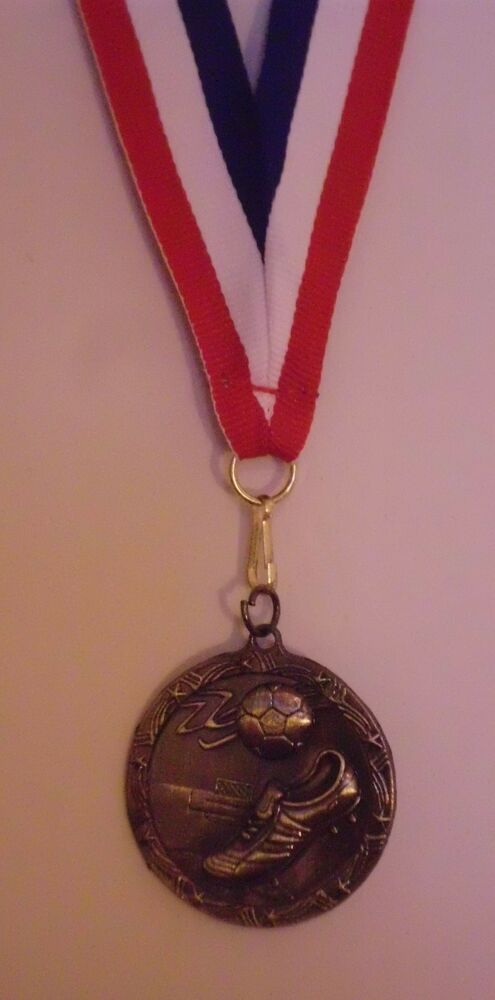 SOCCER MEDAL MEDALLION AWARD RIBBON 3D GOLD COLOR ...