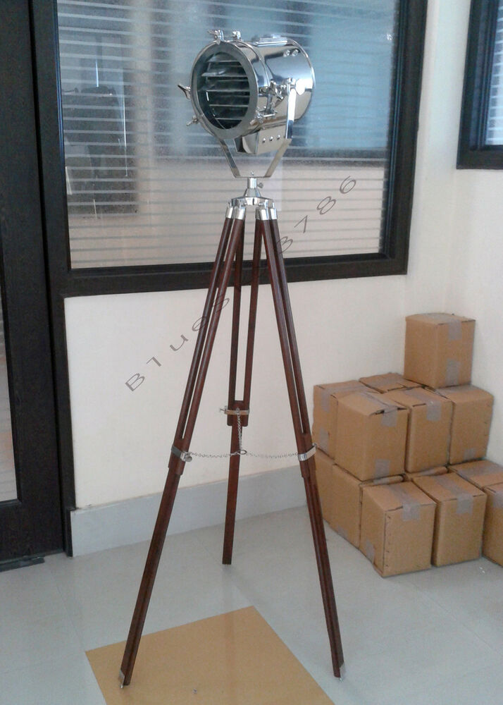 designer 39 s spotlight floor lamp chrome floor lamp tripod ebay. Black Bedroom Furniture Sets. Home Design Ideas