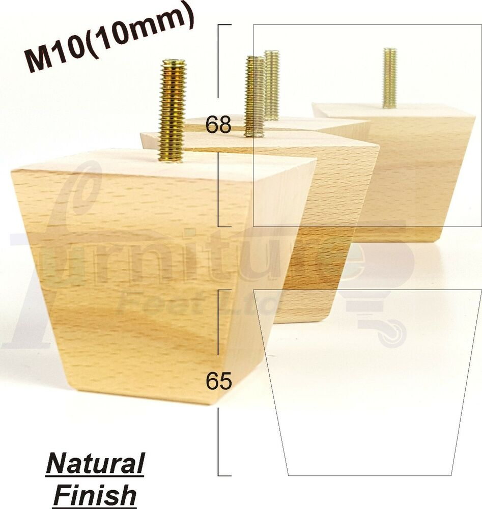 4x Wooden Natural Furniture Feet Legs Sofa Chairs Settee M10 10mm Fitting Ebay