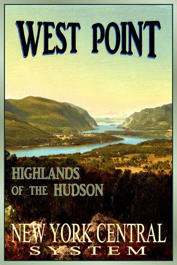 west point new york central hudson river highlands retro poster art print 137 ebay. Black Bedroom Furniture Sets. Home Design Ideas
