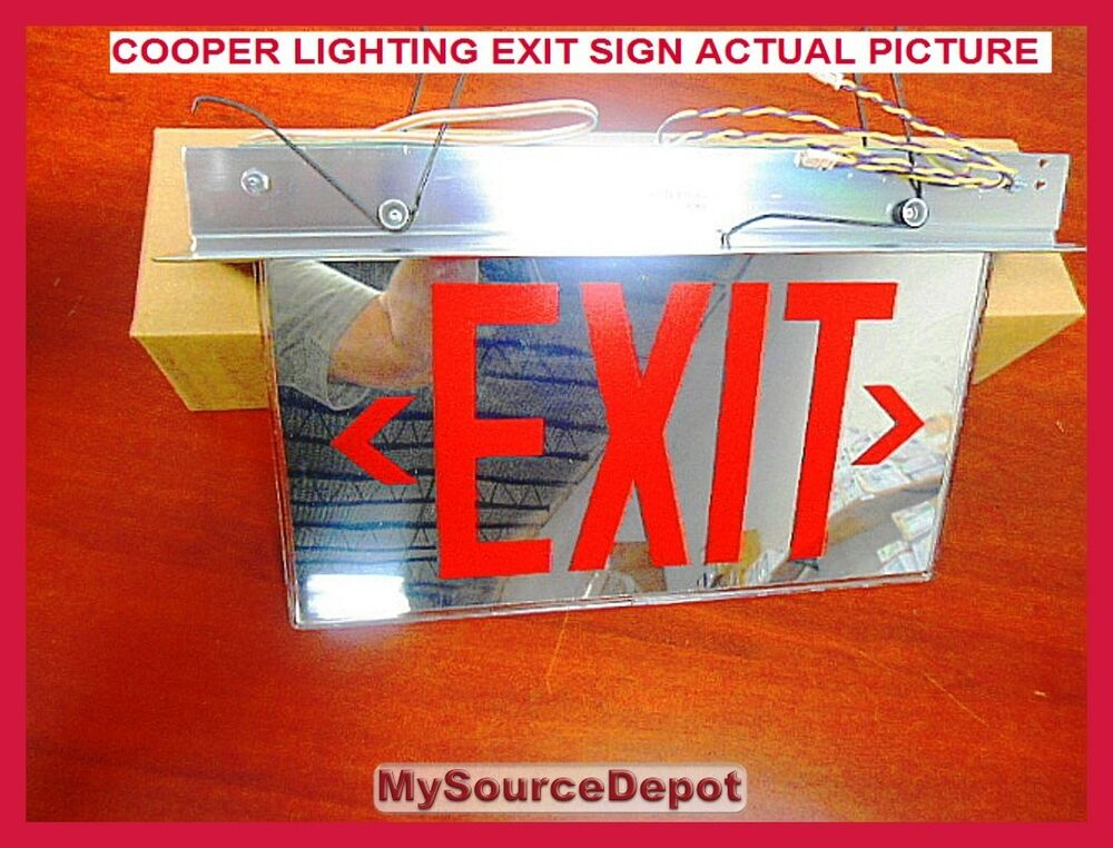 Cooper Lighting Led Exit Sign Red Mirror Es7270rmdac