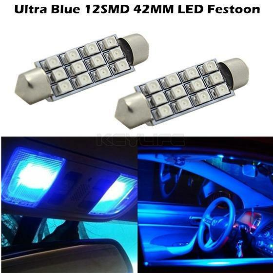 2x new xenon blue 42mm 12smd festoon 3528 led bulbs for car interior light 578 ebay for Led car interior lights ebay
