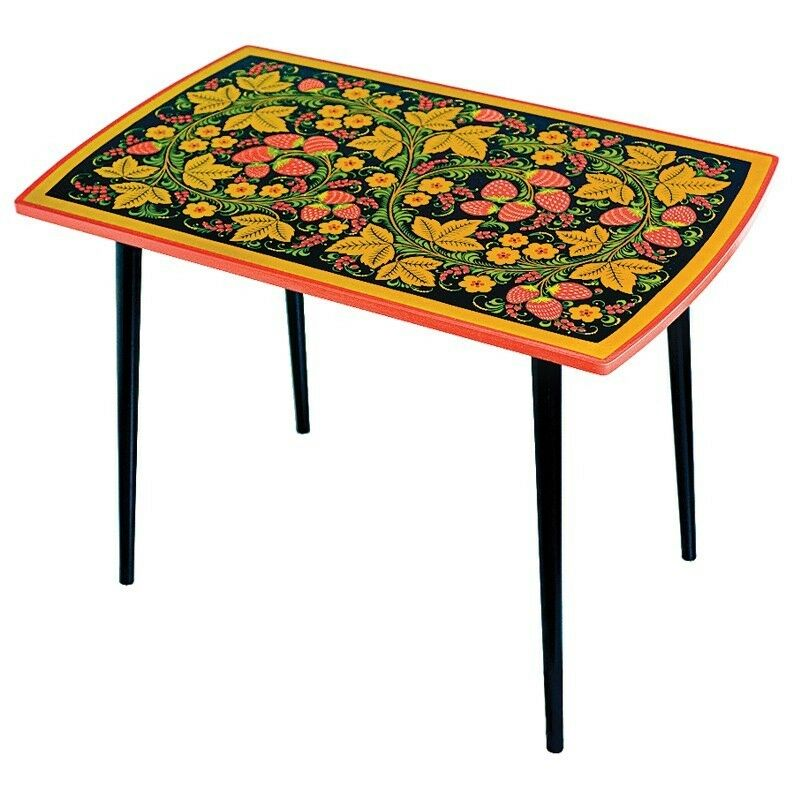 Khokhloma coffee table lacquer tempera wood 24 x 30 x for Coffee table 60 x 60