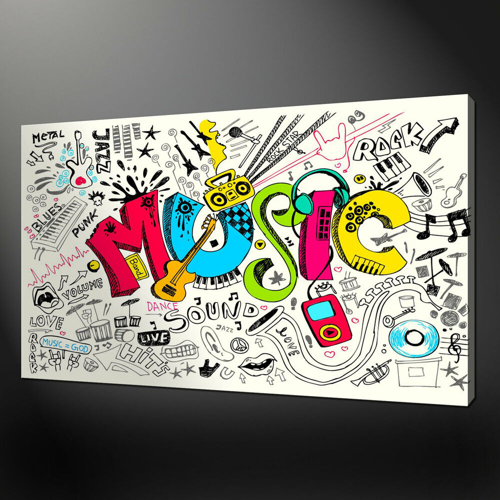MUSIC DOODLES ABSTRACT CANVAS PRINT PICTURE MODERN WALL ...
