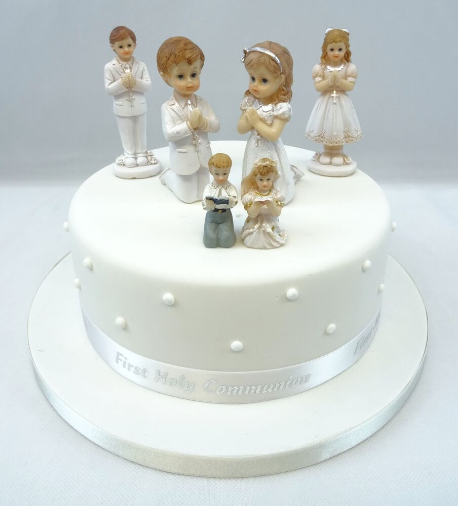 First holy communion girl or boy cake toppers or diamante cross and ribbon sets ebay - Holy communion cake decorations ...