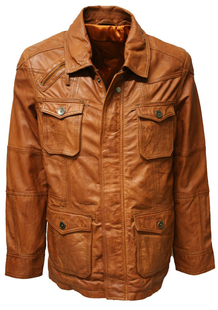 neu herren lederjacke echtes leder feinstes lammnappa in braun cognac ebay. Black Bedroom Furniture Sets. Home Design Ideas