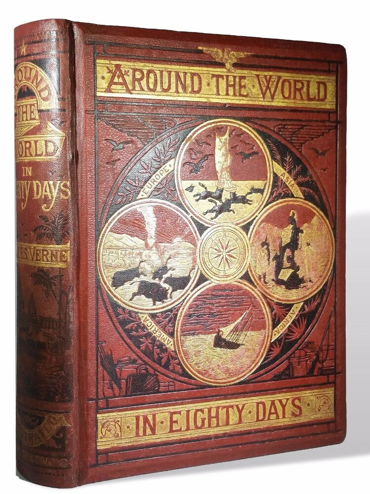 around the world in eighty days 1873 on title page 1st. Black Bedroom Furniture Sets. Home Design Ideas