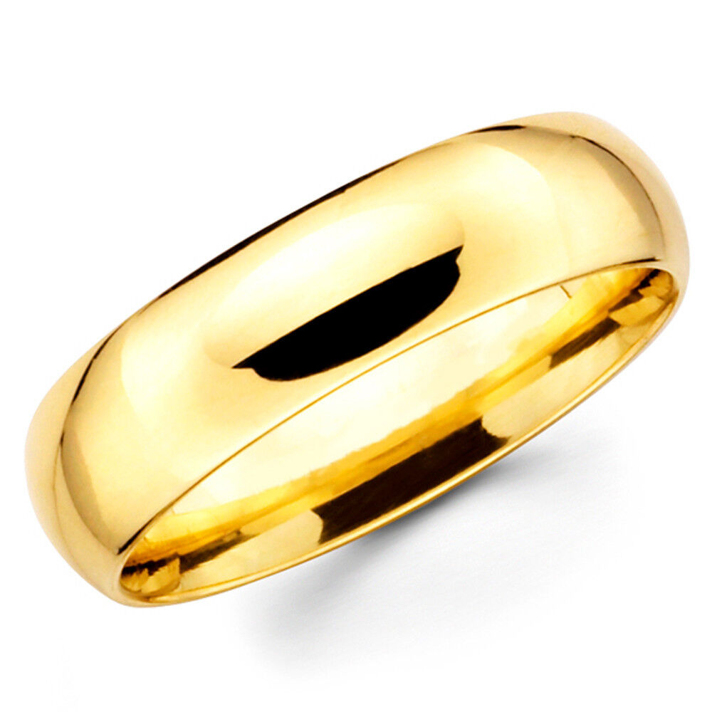 10k Solid Yellow Gold 6mm Plain Men S And Women S Wedding