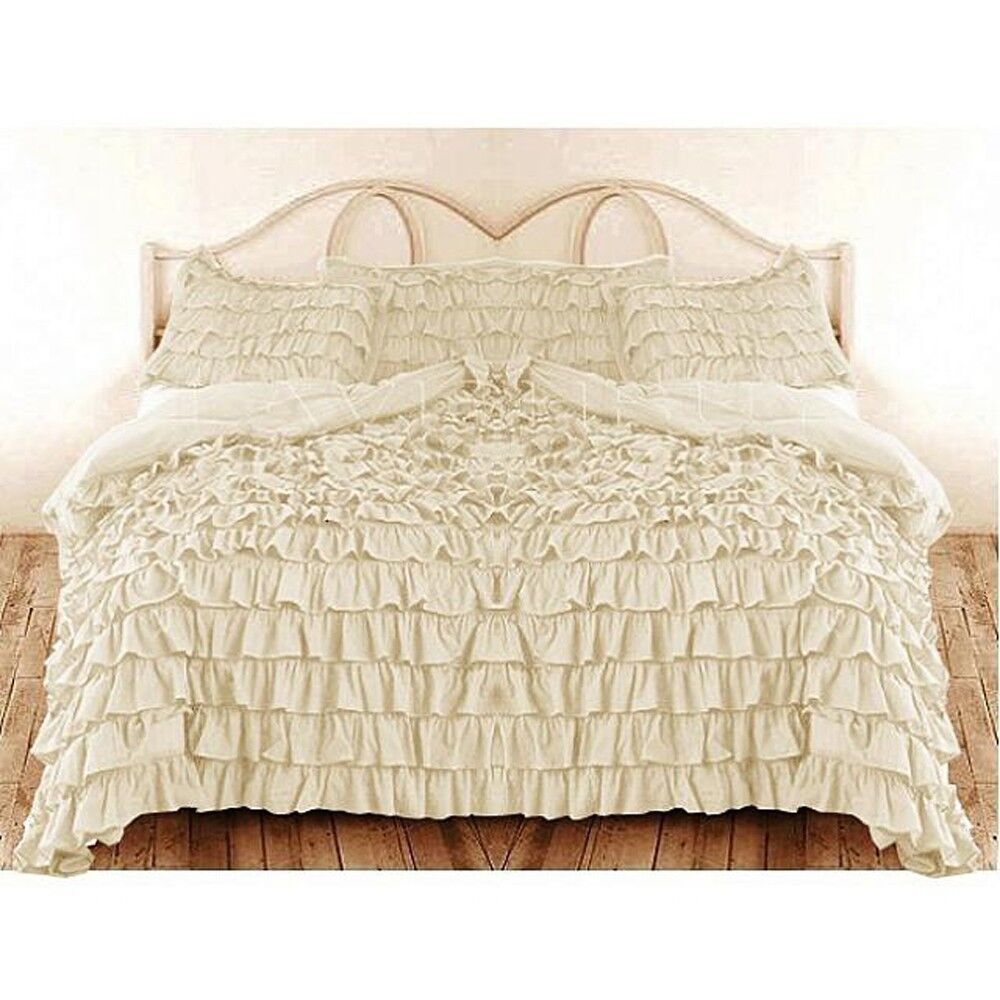 Country Ruffle Duvet Cover: Neither flouncy nor fussy, the soft self ruffle on these bedding separates adds a graceful note to classic cotton percales. thread count. Imported. Machine wash. Queen, 88