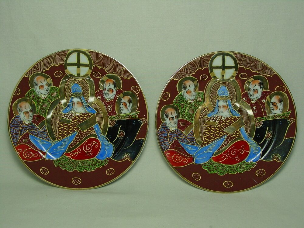 Set of 2 vtg handmade painted small mini ceramic plate old for Where to buy ceramic plates to paint