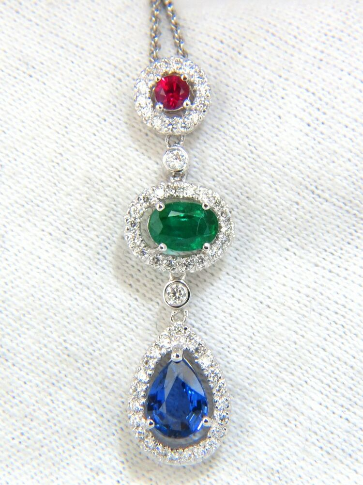 8000 3 07ct Natural Sapphire Emerald Ruby Diamond Cluster