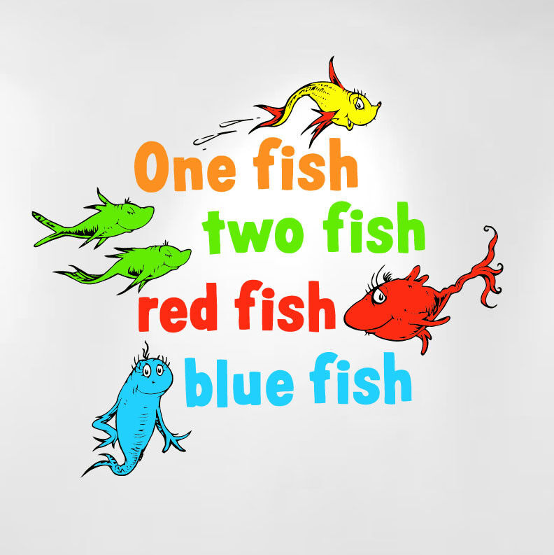 One fish two fish red fish blue fish dr seuss kids wall for Dr seuss wall mural decals