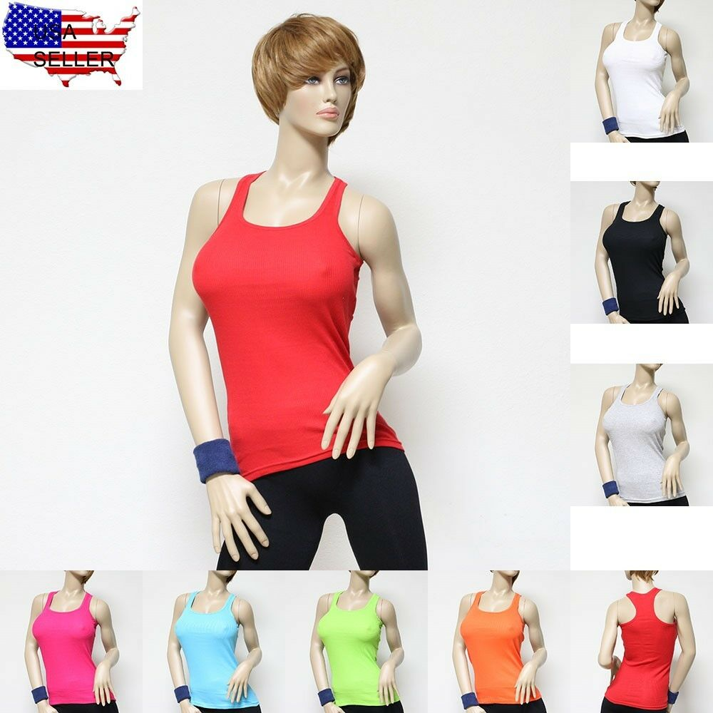 Women's 100% Cotton Racer Back Ribbed Tank Top Hot Tee