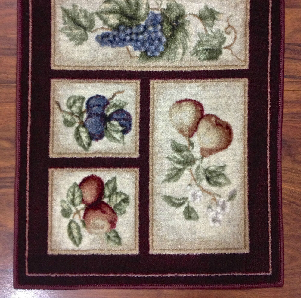 2x9 kitchen runner mat rug beige burgundy washable fruit