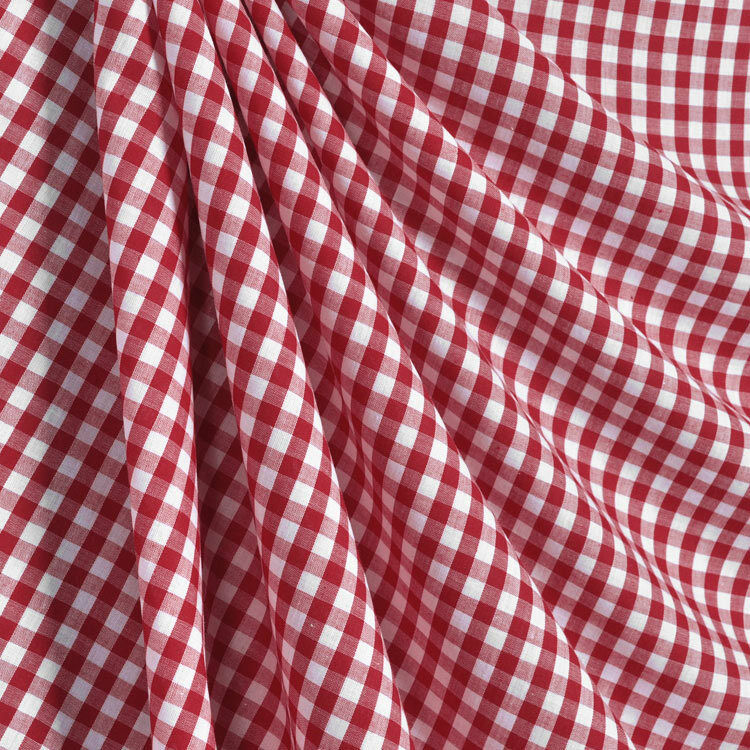 Red White 1 4 Gingham Cotton Blend Fabric Tablecloth