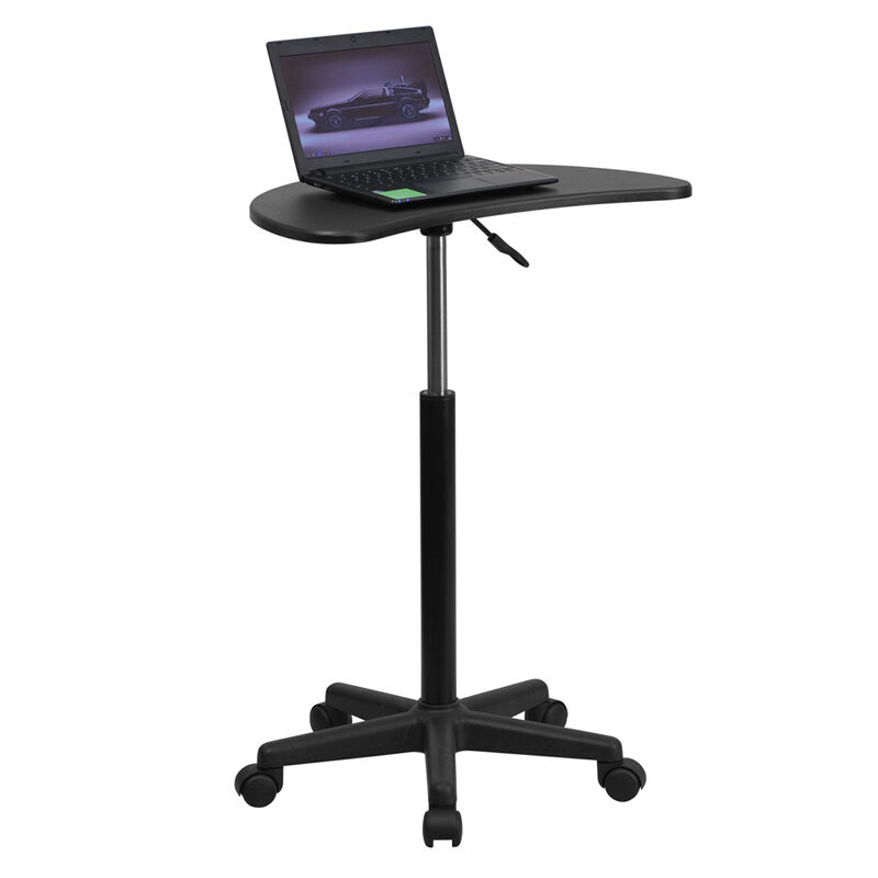 height adjustable mobile laptop computer desk with black top portable stand ebay