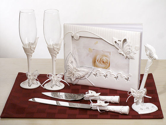 Spring Butterfly Guest Book Toasting Flutes Cake Server