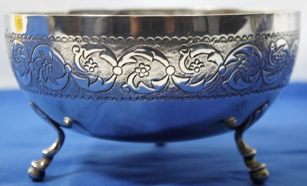 Solid 835 silver fluted footed bowl centerpiece 238 grams pl 1311 ebay - Footed bowl centerpiece ...