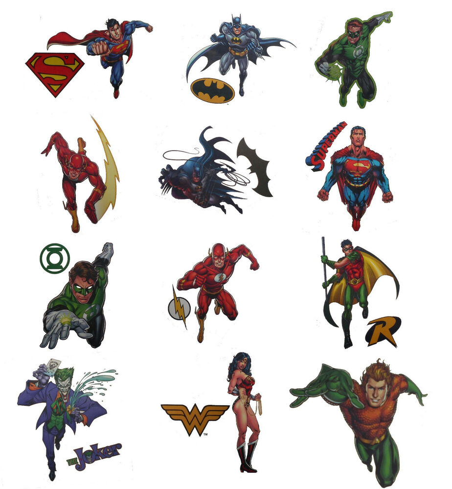 Dc comics superhero temporary tattoos batman superman for Superhero temporary tattoos